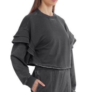 7 For All Mankind Ruffle Shoulder Cropped Sweater